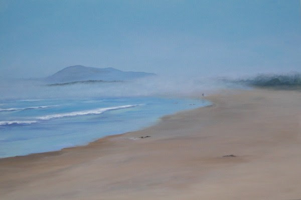 "11018 - Misty Walk on Long Beach - 24"" x 36"" By Sea Dean"