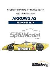 Maqueta de coche 1/20 Studio27 - Arrows Ford A2 Warsteiner Nº 29, 30 - Riccardo Patrese, Jochen Mass - Gran Premio de Francia 1979 - kit multimaterial image