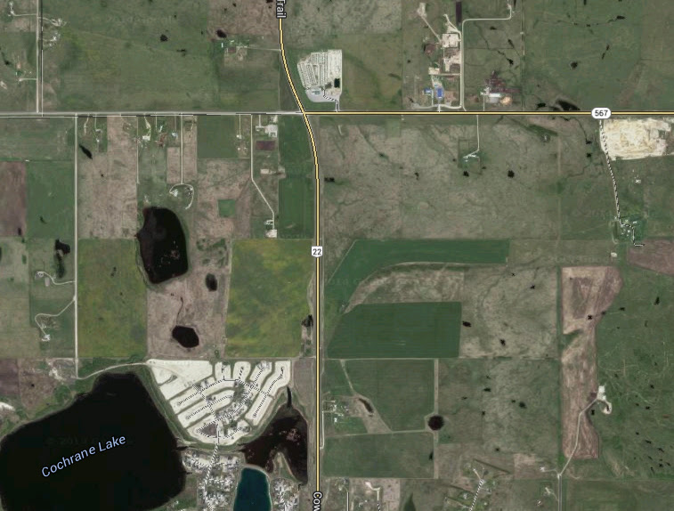 The pilot was just a few miles west of Route 22, pictured, north of Cochrane when the object was spotted moving close to ground level. (Credit: Google)