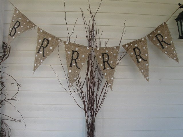 Ready to ship...Brrrrrr.......Burlap Banner Bunting Pennant