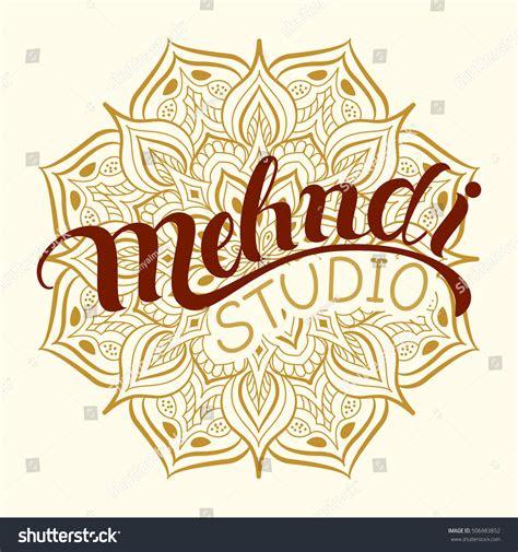 mehndi studio hand drawn logo traditional stock vector