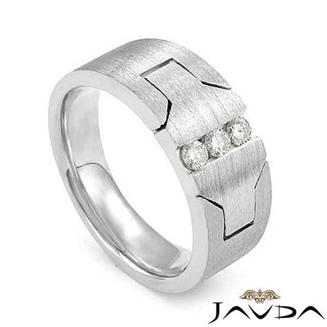 9.2mm Mens 3 Stone Ring Round Diamond Half Wedding Band