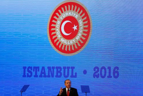 Turkish President Tayyip Erdogan makes a speech during the NATO Parliamentary Assembly 62nd Annual Session in Istanbul, Turkey, November 21, 2016. REUTERS/Murad Sezer.