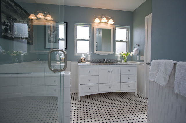 Traditional Black and White Tile Bathroom Remodel - traditional ...
