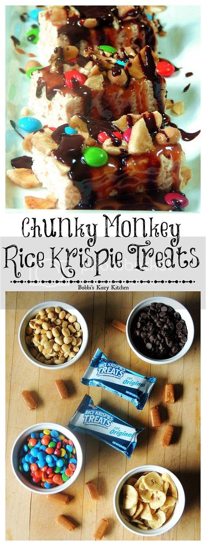 Chunky Monkey Rice Krispie Treats - Chunky Monkey Rice Krispie Treats - Dress up your favorite krispie treat with caramel, peanuts, M&Ms, banana chips, and chocolate, for an out of this world fun treat that is the perfect afternoon pick-me-up!