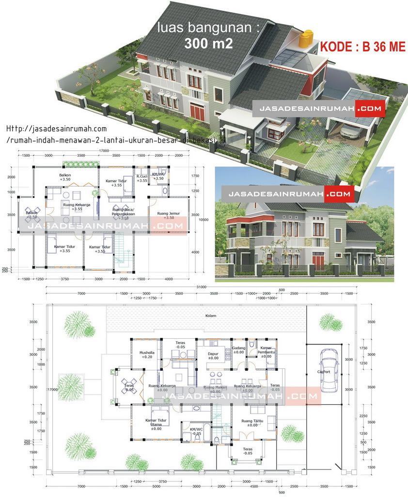 Rumah Indah Menawan 2 Lantai Ukuran Besar Di Bekasi Jasa Desain