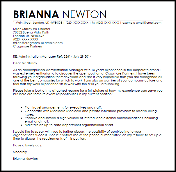 Administration Manager Cover Letter Sample Cover Letter