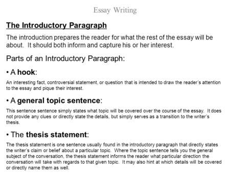 how to write an introductory paragraph for an essay words
