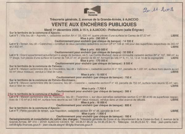 vente aux enchère de la maison cantonnière du Fuzzanincu à Aullène