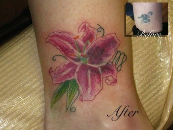 Cute And Tiny Stargazer Lily Tattoo Design On Foot For Girls