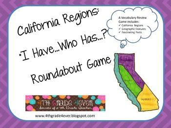 California Regions I Have...Who has...? Vocabulary Roundab