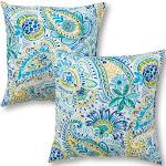 Set of 2 Baltic Paisley Outdoor Square Throw Pillows - Kensington Garden