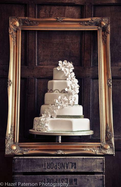White Wedding Cake. Hexagon. Round. 5 tier. Wooden Crate