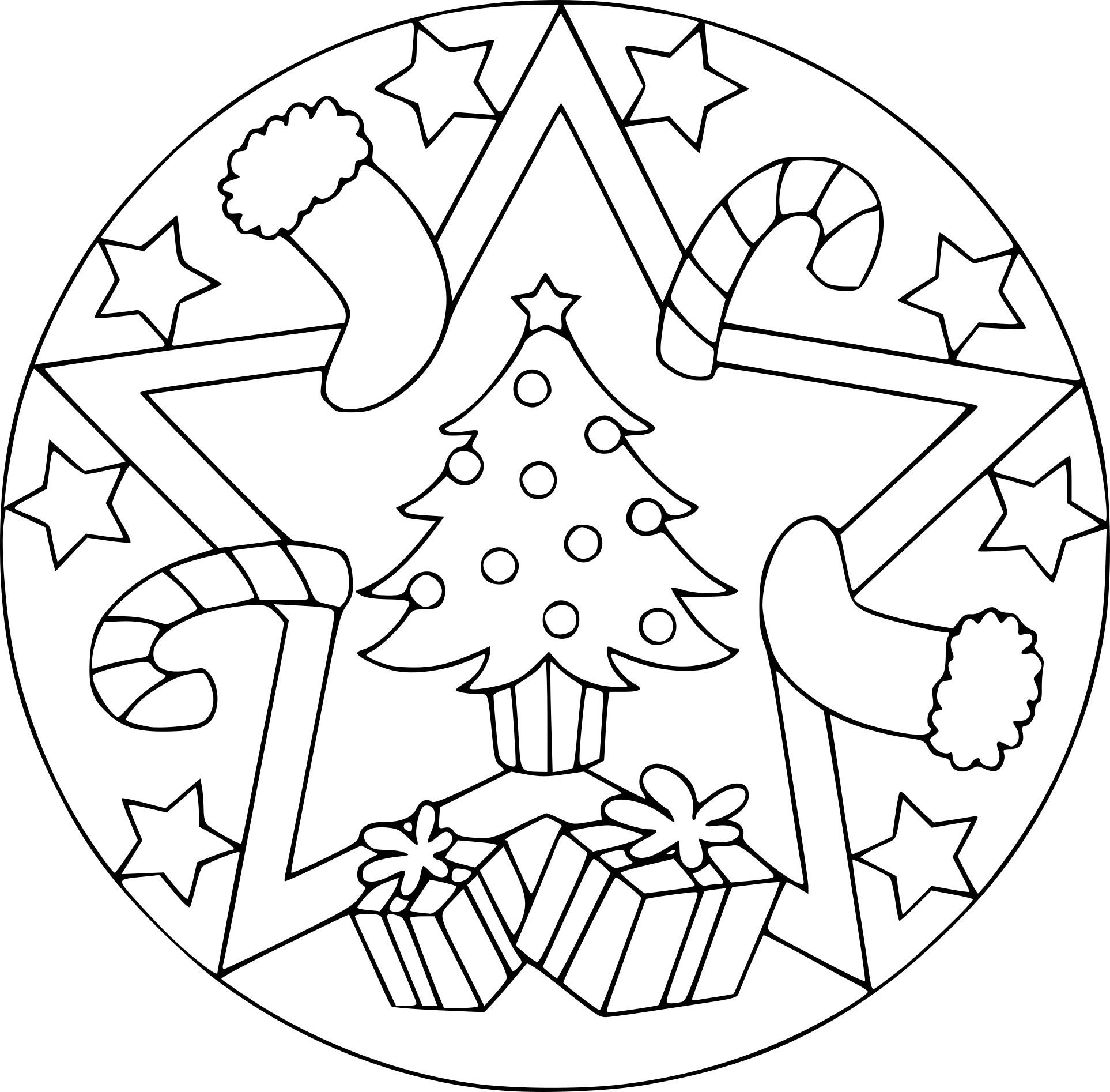 Coloriage Mandala Noël à Imprimer