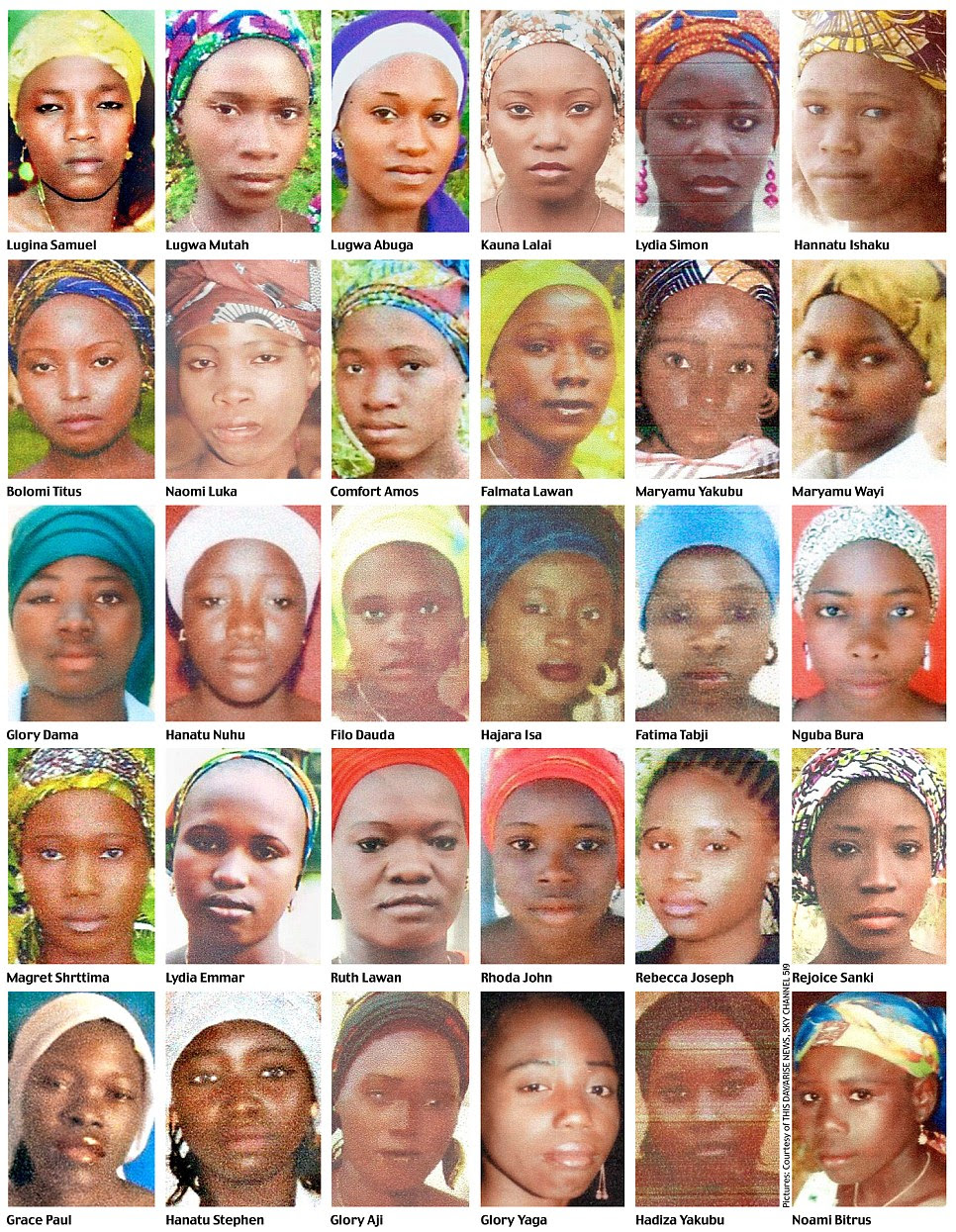 Gordon Brown was shown these pictures after visiting Nigeria this week. He met the leader of the community council in Chibok, the town from which the girls were abducted. Slowly and with tears in his eyes, he flicked through a file in which he had recorded the names and photographs of the girls