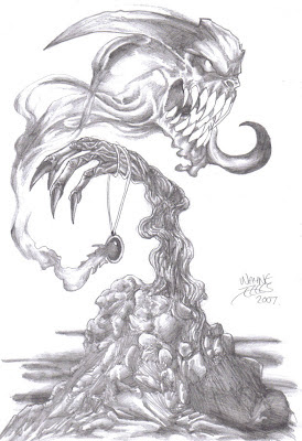 demon art pencil sketch