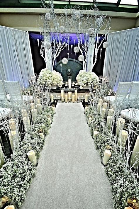 White Winter Wonderland Wedding Ceremony Design #