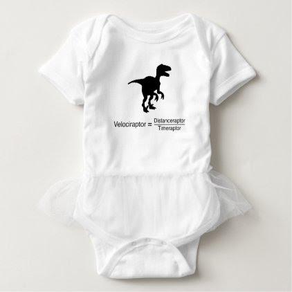 velociraptor funny science baby bodysuit