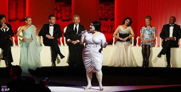 Performed: Beth Ditto sang in front of members of the jury at the opening ceremony at the 65th international film festival