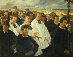 Procissão em Penmarch (Finistère) - Lucien Simon, 1901. Musée d´Orsay, Paris.