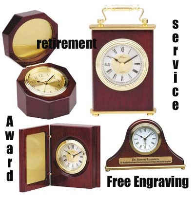 Award Clocks for Recognition - Finely crafted award clock with engraving for personalizing
