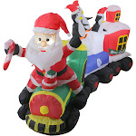 Northlight 6.5' Inflatable Santa on Locomotive Train Lighted Christmas Yard Art Decoration