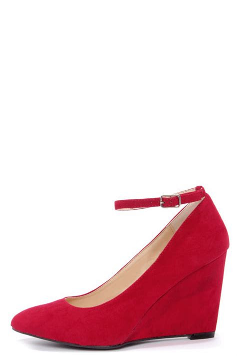 cute red wedges ankle strap wedges suede heels