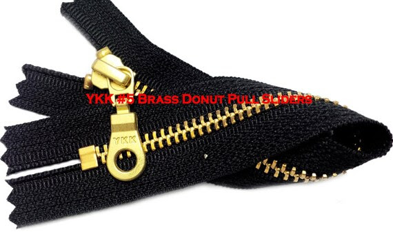 """7"""" Exposed YKK with a Fancy Pull Metal Zipper YKK Number 5 Brass Closed Bottom -  Color Black By each (select your own style of slider)"""