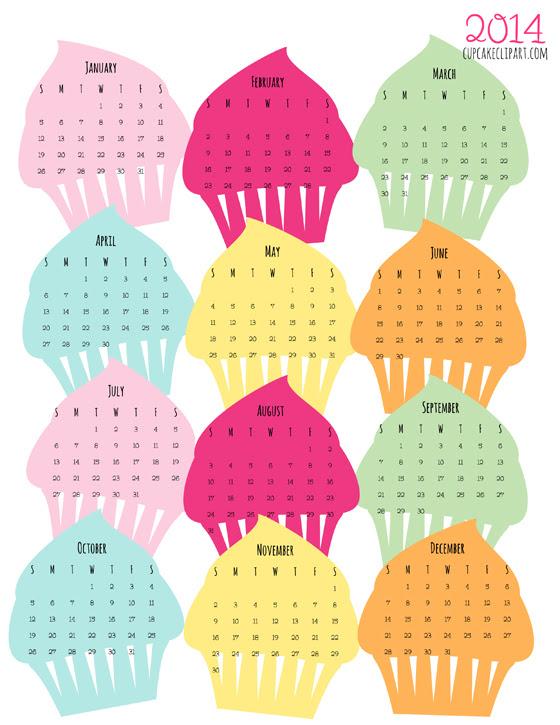 2014 printable cupcake calendar freebie