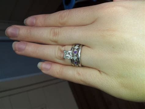 Show me your wedding band/engagement ring gap