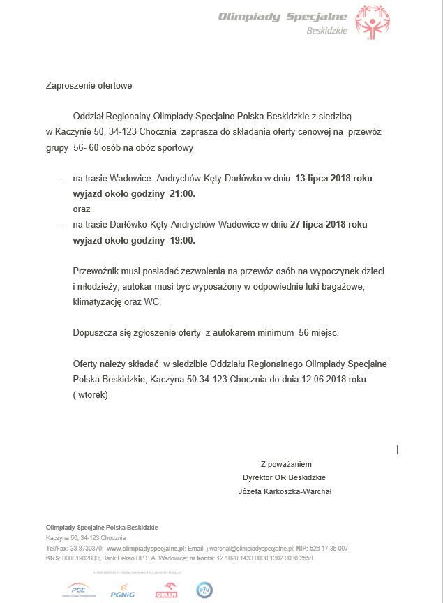 Zaproszenie Ofertowe Olimpiady Specjalne Polska