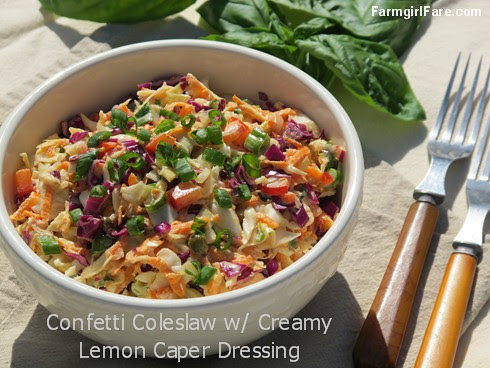 Confetti Crunch Coleslaw Recipe with Creamy Lemon Caper Dressing - FarmgirlFare.com