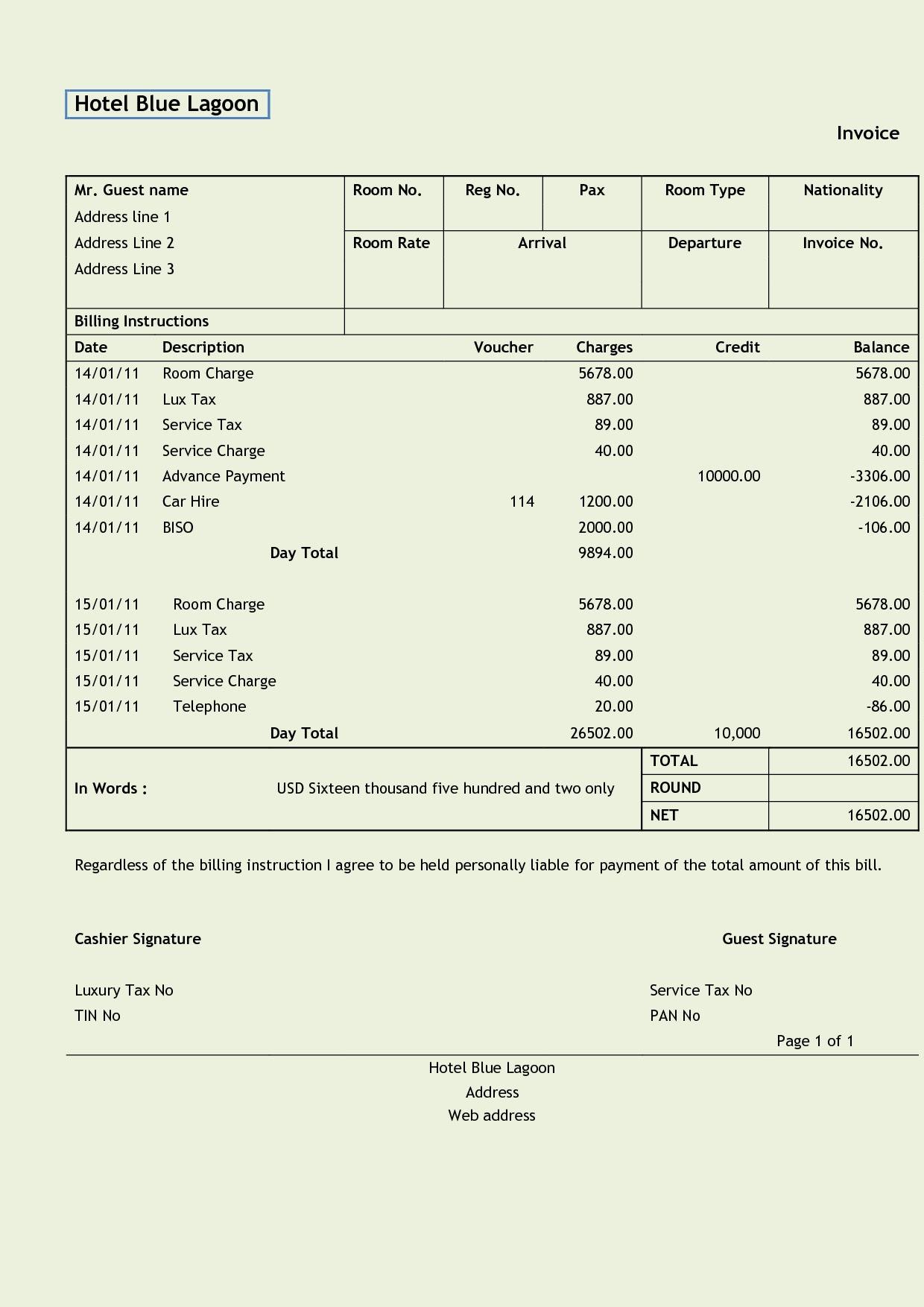 bill sample format bafflingdynu hotel invoice sample