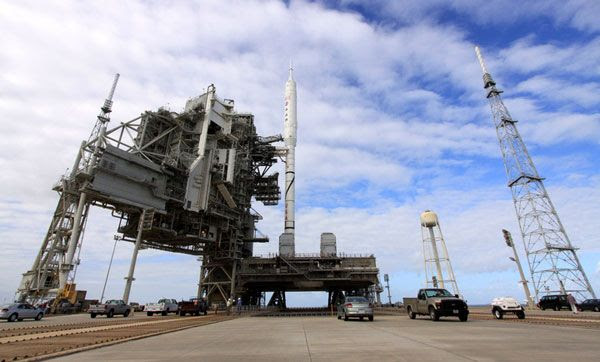 The ARES I-X rocket at Launch Complex 39B at NASA's Kennedy Space Center in Florida, on October 22, 2009.