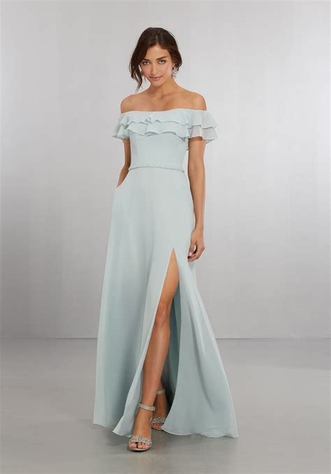 Chiffon Bridesmaids Dress with Off the Shoulder Flounced