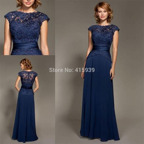Mark Lesley Dark Navy Blue Bridesmaid Dress Lace Chiffon