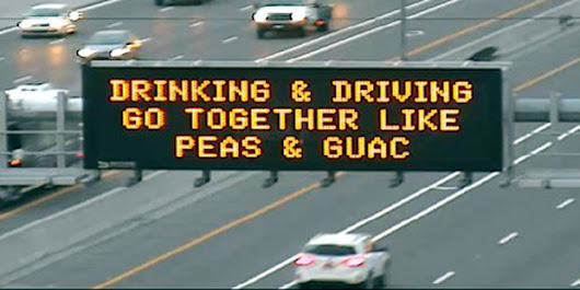 Peas and guac? Odd Arizona highway message aims to stop drunk driving