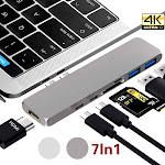 Willstar Double C Type 3.1 High Speed Interface Multiport Card Reader Adapter 4K HDMI for MacBook Pro silver 7in1