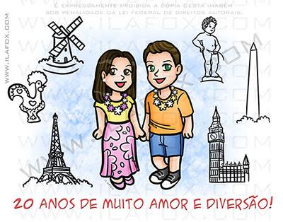 caricatura casal, caricatura delicada, caricatura divertida, caricatura fundo