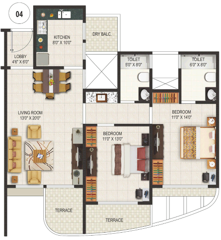 Monarch Renaissance Wakad 2 BHK Flats 1266 Saleable for Approx Rs. 67 Lakhs Onward