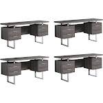 "Monarch 60"" Contemporary Modern Home Office Study Computer Desk, Taupe (4 Pack) by VM Express"