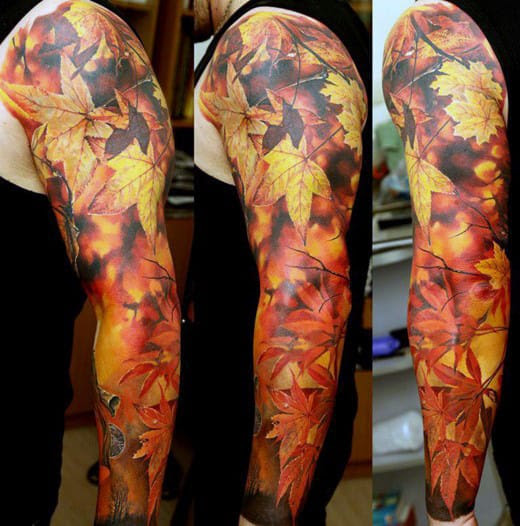 Leaves Sleeve Tattoo