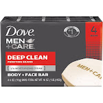 Dove Men+Care Body + Face Bar, Deep Clean - 4 pack, 4 oz bars
