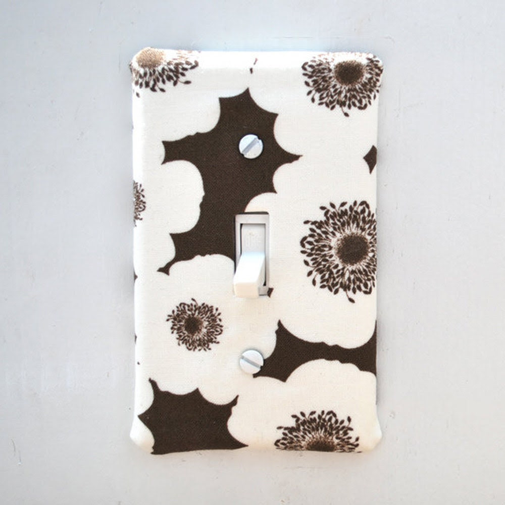 Light Switch Plate Cover, wall decor - brown with off white flowers, floral, natural, nature, mod, pop, feminine