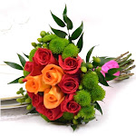 USA Bouquet Wedding Collection Hot Pink, Green, and Orange, Bridesmaid Bouquets (2 Pieces)