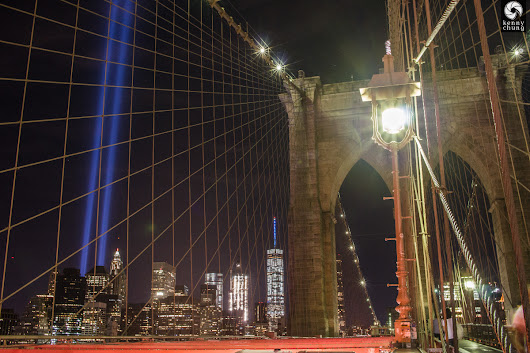 Tribute In Light (9-11-2016) from the Brooklyn Bridge