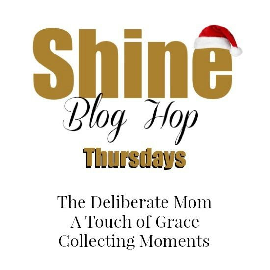 SHINE BLOG HOP Logo with Santa Hat