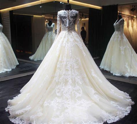 New Design Long Wedding Dress 2018 O Neck Long Sleeves