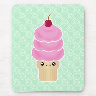 kawaii triple scoop ice cream mousepad