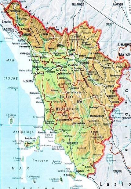 Toscana Cartina Geografica Politica.Cartina Fisica Toscana Da Stampare Stampae Colorare